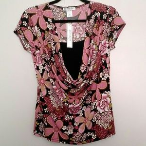 Claudia Richard - Pink & Black Mixed Flower Blouse